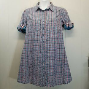 eShakti M L Reversible Dress Orange Blue Plaid